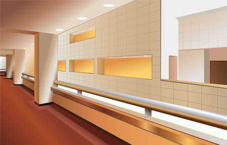 balcony design: modern lobby interior vector Illustration