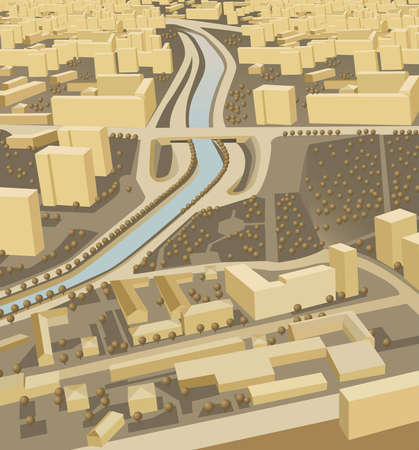 road block: city miniature vector