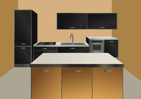 modern kitchen design: kitchen interior vector