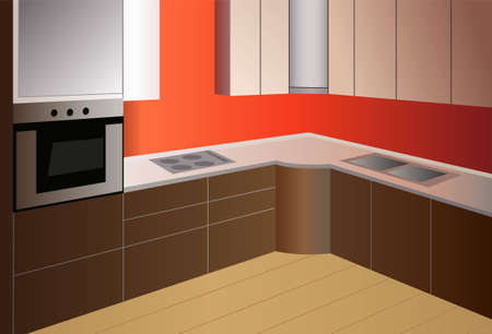 night table: red brown kitchen vector