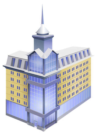 modern office: modern building with spire vector Illustration
