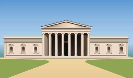 art museum: Museo edificio con colonne vettoriale Vettoriali