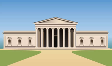 roman column: museum building with columns vector