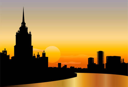 moscow silhouette skyline sunset vector Stock Vector - 6629007