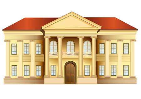 maison de maitre: manoir avec colonnes vecteur