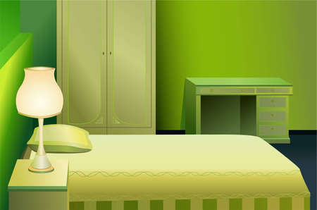 living room wall: green bed room vector