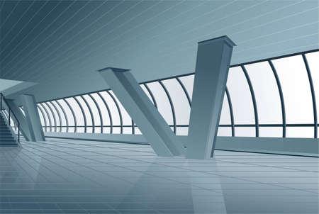 store window: modern gebouw interieur vector