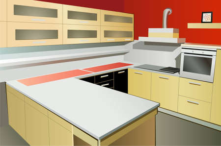 kitchen interior vector Vector