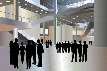 people silhouette in business center vector Vektoros illusztráció