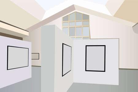 exhibition interior vector Vector
