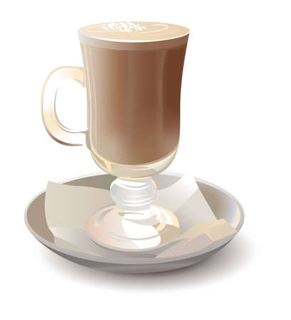 cocoa bean: cappuchino in glass vector