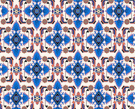 floor covering: oriental blue white carpet vector