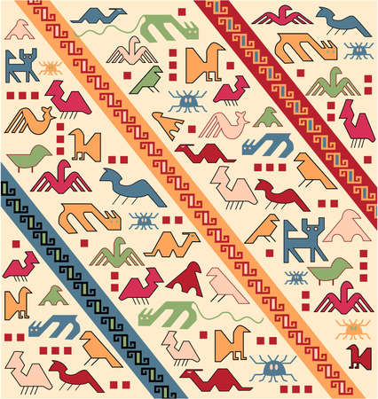 red rug: geometrical animals oriental carpet vector Illustration