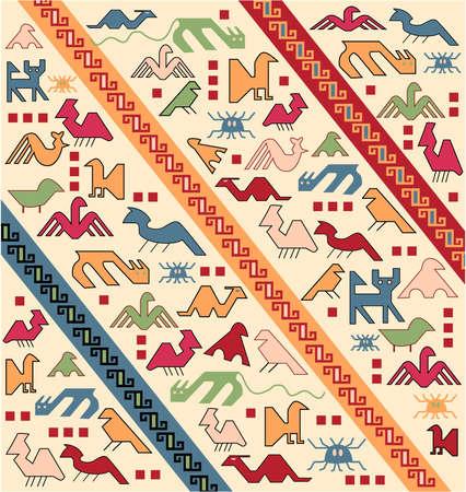 geometrische Tiere orientalischen Teppich Vektor
