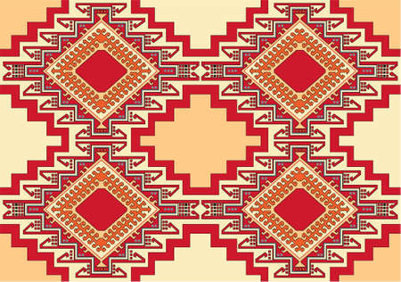 red rug: oriental geometric carpet vector