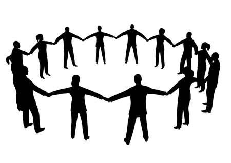 mensen kring: mensen cirkel Stock Illustratie