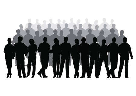 shadow silhouette: Business crowd vector several row
