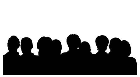 theater man: people heads silhouette Illustration