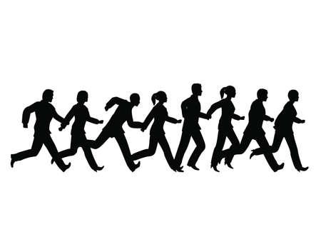 businessteam: running businessteam Illustration