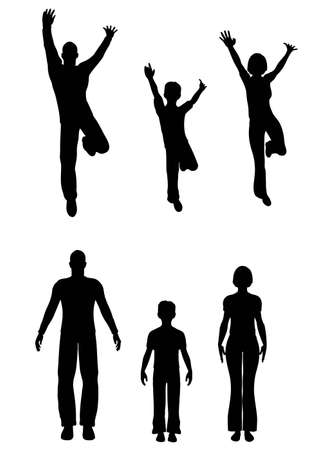 silhouettes of children: standing jumping family silhouette vector