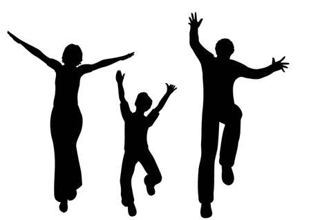 success man: happy family vector