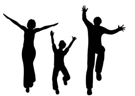 silueta ni�o: vector de familia feliz