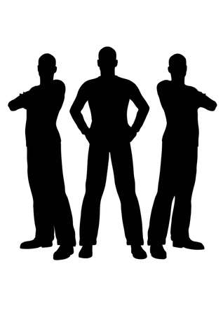 man standing: three men silhouette