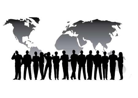 business crowd globe Vector