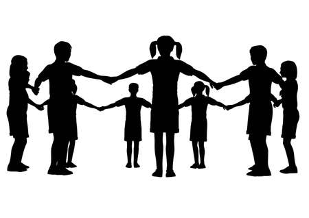 girotondo bambini: cerchio di bambini  Vettoriali