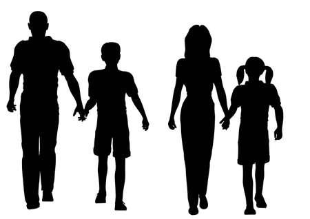 wandelen van de familie van vier silhouet vector Vector Illustratie