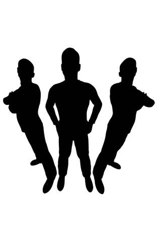 gran angular: tres hombres silueta gran angular Vectores