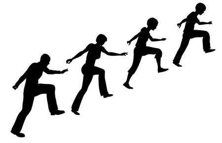ni�o escalando: familia de vector en escalera