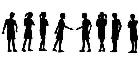 business discussion: apret�n de manos de los ni�os
