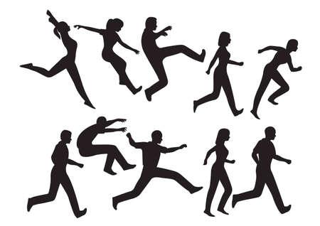 �jumping: vector salto hombre mujer