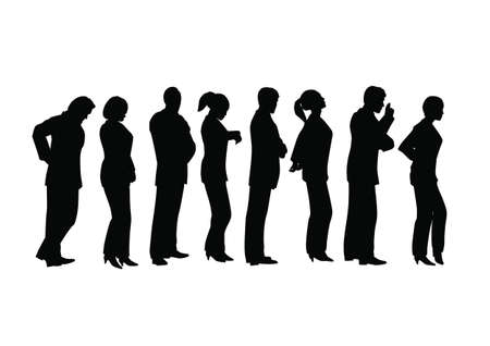 waiting in line: business lineup Illustration