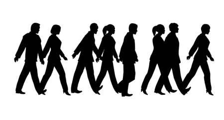 business people walking: pedestrian silhouette Illustration