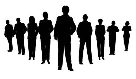 well dressed woman: Business people with leader silhouette