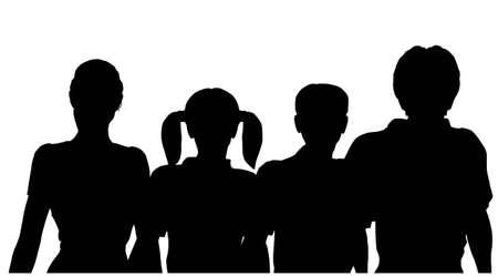 famille de quatre silhouette