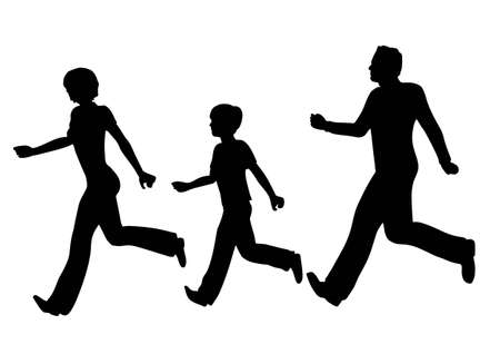 girls feet: running family vector