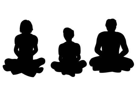 family yoga vector Vector