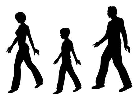 adult profile: walking family vector Illustration