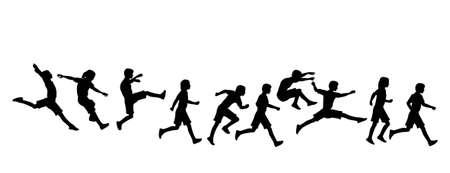 running track: actieve kinderen springen