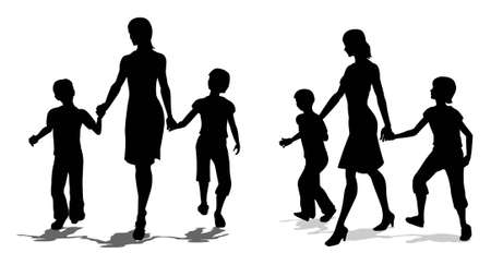 mother with children silhouette Vector