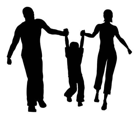 family living: family hold son silhouette