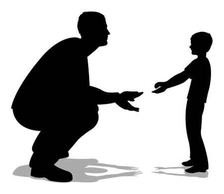 ni�os hablando: hablando con la silueta de hijo de padre