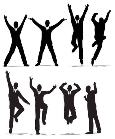 businessman jumping: happy jump businessman silhouette