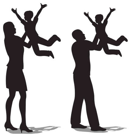 two parent family: parents with children on hands vector silhouette Illustration