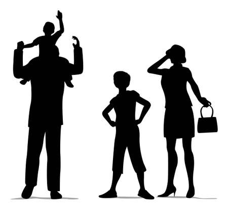 family of four silhouette Vector