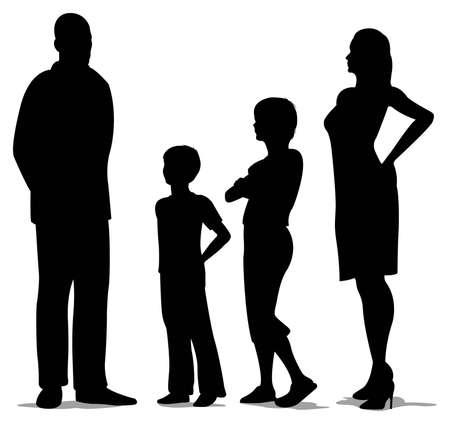 famille de quatre commandes silhouette Vecteurs