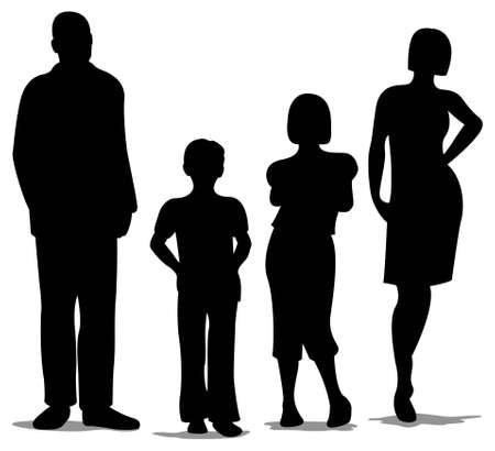 padres hablando con hijos: familia de cuatro silueta de pie